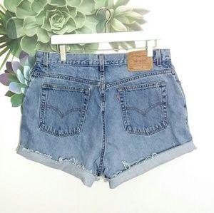 Levi's 550 Cut Off Blue Jean Denim Shorts